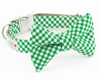Green Gingham Bowtie Dog Collar