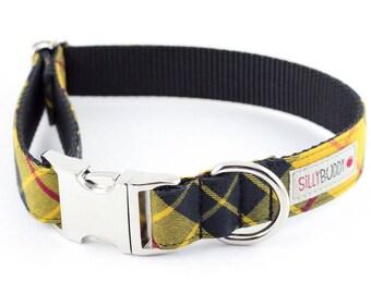 Mustard and Black Plaid Dog Collar