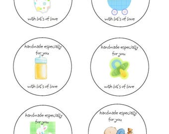 Crochet Baby Circle Gift Tags Labels PDF Handmade for you crochet for you Labels Printable PDF only