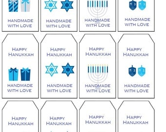 Crochet Gift Tags, Happy Hanukkah Labels PDF Crochet  Gift Tags Printable Gift Tags Personalized with your name or shop name