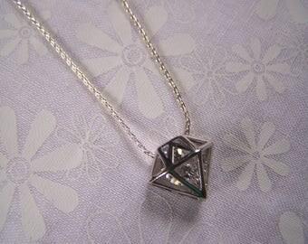 Crystal Pendant Diamond Cut Shaped Cage