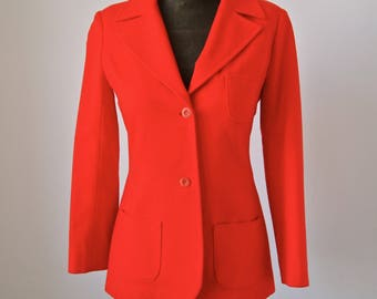 Orange Red 70's Virgin Wool Young Pendleton Blazer Jacket Fitted Size small