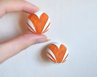 1940s Carved painted large Bakelite earrings / 40s White & Orange Catalin Art Deco earrings