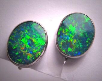 Antique Black Australian Opal Earrings Vintage Art Deco Estate Pair 1930