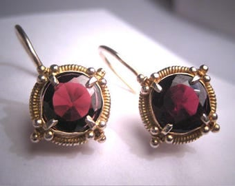 Vintage Georgian Victorian Revival Garnet Earrings