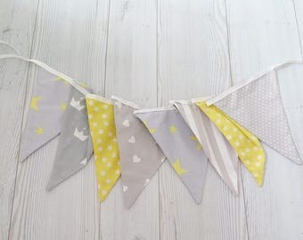 Gray and yellow banner , fabric banner , fabric garland