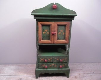 petite green cupboard / cabinet / handpainted / cottage chic