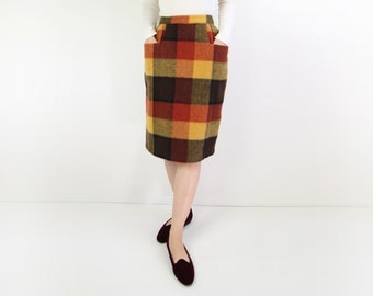 VINTAGE 1960s Plaid Skirt Wool Yellow Orange