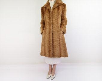VINTAGE Faux Fur Coat 1970s Red Fox