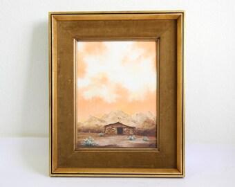 VINTAGE Mountain Painting 1970s Oil Velvet Art