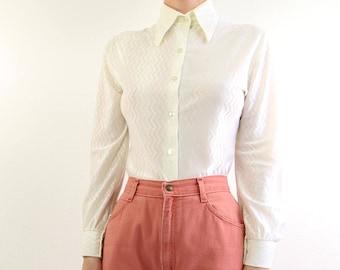 VINTAGE White Blouse 1970s Shirt Longsleeve