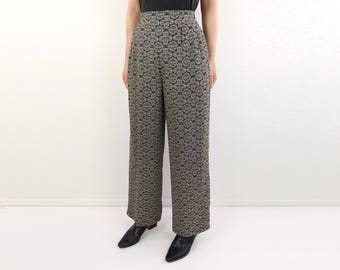VINTAGE 1990s Printed Pants High Waist Wide Leg Black Ornate