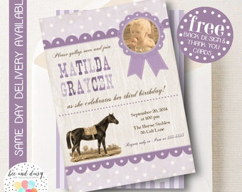 Vintage Horse Birthday Invitation, Horse Invitation, Horse Party, Girl First Birthday, Girl Birthday, Printable Horse Invite, BeeAndDaisy