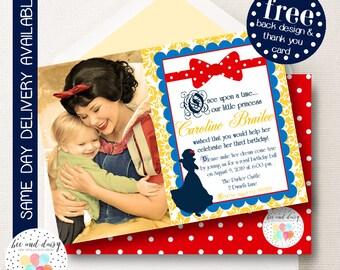 Snow White Invitation, Snow White Birthday Invitation, Snow White Party, Girl First Birthday, Girl Birthday, Snow White Photo Invite
