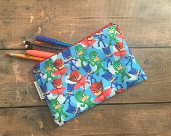 Pencil Case/Cosmetic Bag/ Gadget Case -  Pj Masks - Birthday Gift - Birthday Present- Christmas gift, Inexpensive Christmas Gift