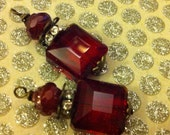 SALE BD907 Victorian Style flat square Blood Red crystal and rhinestone pendant dangle drops 2 pcs