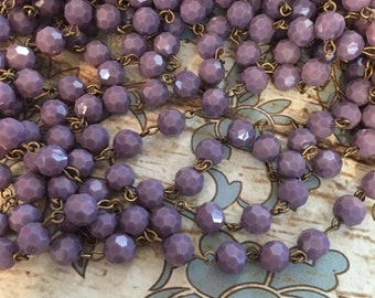 SALE New American Artisan assembled Vintage Style opaque BOYSENBERRY purple Handmade beaded Chain with 8mm faceted round beads antique brass