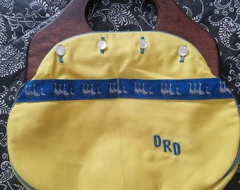 Vintage de Lanthe Yellow Bermuda Bag Purse with Goose Trim Blue Accents and Wooden Handles 1960s 1970s Buttons Monogramed DRD