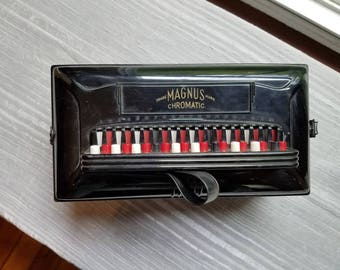 Vintage Magnus Chromatic Hand Accordion Musical Instrument Made in the USA Blue