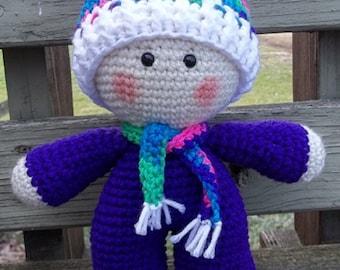 Crochet Big Head Doll, Purple Big Head Doll, Amigurumi Doll, Crochet Big Head Doll, Big Head Plushie, Crochet Kawaii Doll, Gift Idea