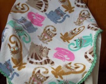 Fleece Baby Blanket, Kitty Cat Print, Crochet Edge Fleece Blanket,  Kitty Cat Fleece Blanket, Fleece Toddler Throw, Baby Shower Gift