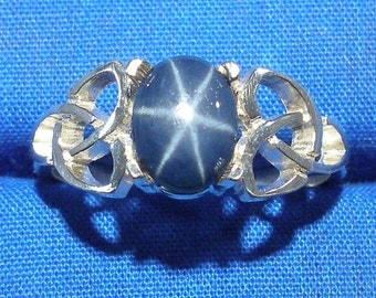 Natural Blue Star Sapphire Celtic Triskel Ring, Hand Crafted Recycled Sterling Silver, handmade