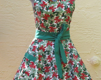 Sophisticated Hostess Holiday English Collection Apron outlined with Holly Berries and Bows