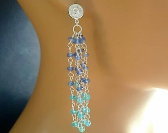 Tassel Earrings Kyanite Apatite Sterling Silver Gemstone Long Tassel Earrings Bridal Jewelry