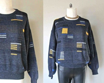 Vintage 1990's sweater GREY GEOMETRIC abstract slouchy oversized - M