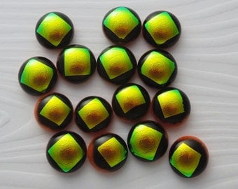 Dichroic fused Glass Mini Cabs, Bead Findings, Dichroic Cabochons, Glass Beads, Buttons, Do It Yourself, DIY 4628