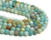 8mm Flower Amazonite beads, faceted round natural gemstone, Full & Half Strands available  (1257S)