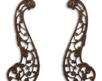 Vintaj Natural Brass, Perfect Paisley, Decorative Drop Pendant, Filigree, 57mm x 20mm, Large, Set of 2 - ID 2200-2201-SET2