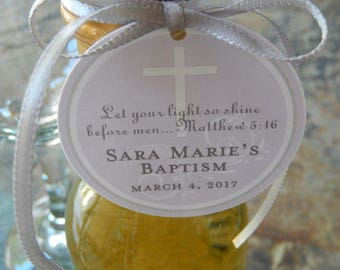 "Baptism Matthew 5:16 Custom Thank You 2"" Favor Tags - For Mini Wine or Champagne Bottles - Cookies - Mason Jar Favors - (40) Cross Tags"