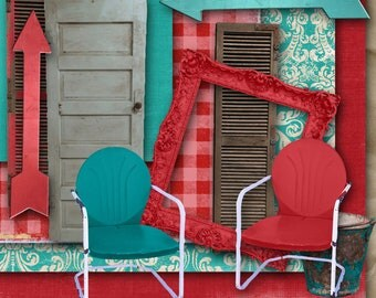 A Day of Junkin' Clip Art Kit digital graphics clipart commercial use okay turquoise door shutters chippy metal lawn chairs arrow frame red