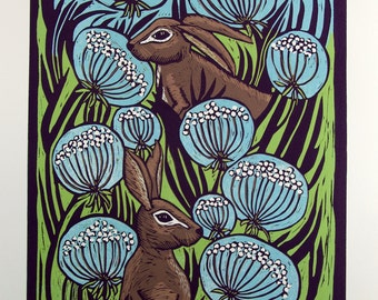 linocut, Hares, landscape, flowers, wild flowers, printmaking, blue, green, nature, animals, rustic decor, country cottage