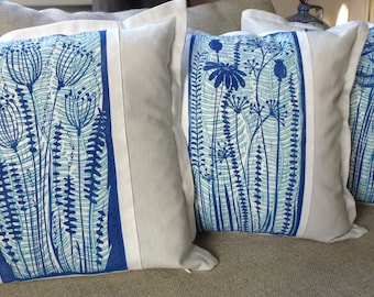 linocut,set of 3, cushion covers, hand printed, decorative pillow, flowers, blue, home interior, printmaking, grey, linen, blue and white