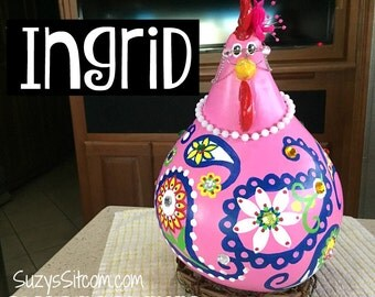 chicken, hen, rooster, bird, funny, gourd, hand painted, painted gourd, paisley, pink, navy blue, home decor