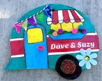 personalized, camper, ornament, magnet, vintage camper, decoration, teal, red, travel