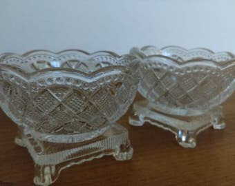 Avon Fostoria Glass Footed Dishes for Condiments or Salt Cellars