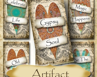 ARTIFACT•1x2 Heart Quotes Images•Printable Digital Images•Cards•Gift Tags•Stickers•Magnets•Digital Collage Sheet