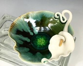 CALLA LILY Pottery and Fused Glass Trinket or Jewelry Bowl
