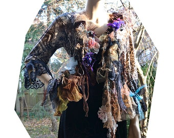 """RESERVED Part Payment Art To Wear Beautiful Feminine Sexy """"Leopard"""" Jacket WINTER SUN  Forest Fairy  Art Nouveau Style Gipsy Boho Tattered"""