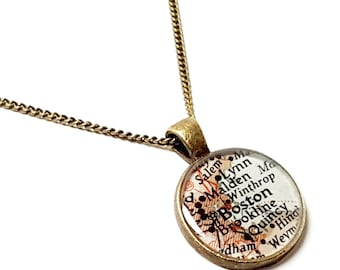Boston Map Necklace. Boston Necklace. Made With A Real 1953 Vintage Map. Ready To Ship. Massachusetts Map Pendant Jewelry. Mother's Day Gift
