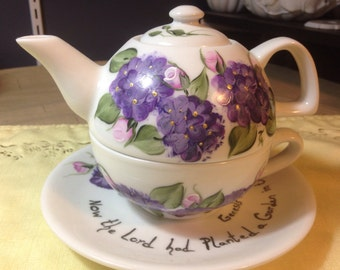 Tea for One Teapot Set Modern Purple lilacs and pink Roses