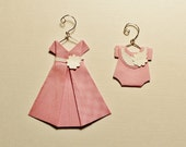 """Miniature Pink Origami Dress and onesie with hanger  (dress about 1 3/4"""" x 1 3/4"""")"""