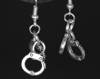 Police Handcuff Earrings Handcuff Earrings Earring Hooks Hypo Allergenic Surgical Steel