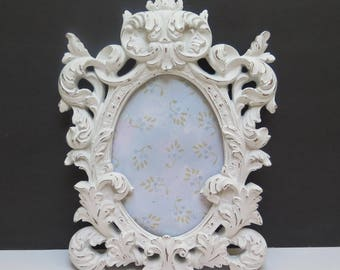 Ornate Baroque Oval Picture Frame -  painted White and distressed with glass to hang on wall