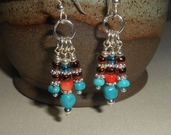 Stabilized Turquoise and coral beaded earrings