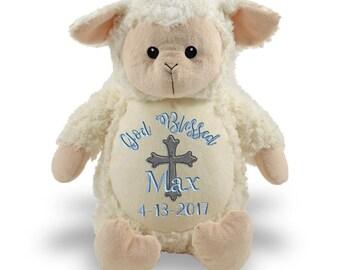 Personalized Stuffed animal, Stuffed Animal, personalized lamb, baptism lamb, baptism gift, baby gift