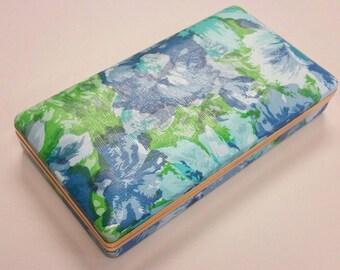 Mod Floral Blue Green Jewelry Box